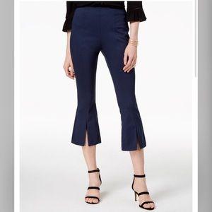 INC Navy Blue Pull On Split Hem Crop Pants Size 8